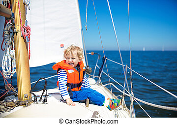 gosses, boat., voile, nautisme, yacht, sea., enfant