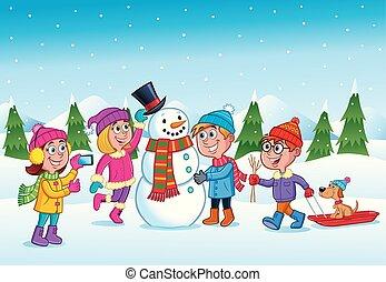 gosses, bonhomme de neige, confection, hiver