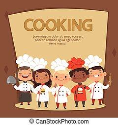 gosses, caractères, préparer, chefs, cuisine, nourriture., vecteur, gabarit, bannière