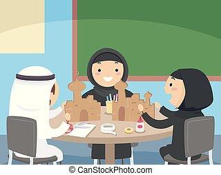 gosses, carton, stickman, métier, mosquée, illustration