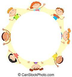 gosses, cercle, fond, mondiale, sourire, blanc, enfants