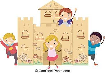 gosses, château, carton, illustration, jeu, stickman