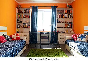 Bleu, gosses, beds., deux, vert, chambre à coucher. Bleu, gosses ...