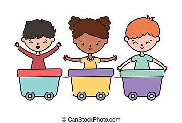 gosses, chariot, jouer, train, heureux, peu