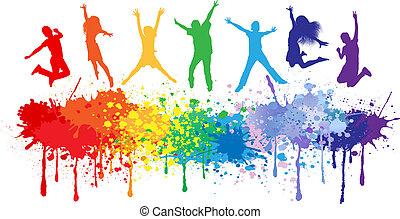 gosses, coloré, clair, sauter, eclabousse, encre