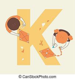 gosses, confection, illustration, cerf volant, alphabet, école