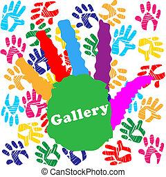 gosses, couleur, galerie, indique, coloré, enfants