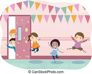 gosses, couloir, heureux, décoration, stickman, école