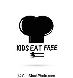 gosses, cuisine, illustration, noir, gratuite, chapeau blanc, manger
