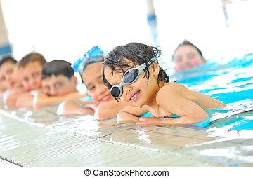 gosses, dans, piscine