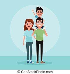 gosses, dessin animé, famille