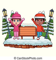 gosses, dessin animé, hiver