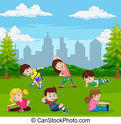 gosses, dessin animé, vert, ville, yoga, parc