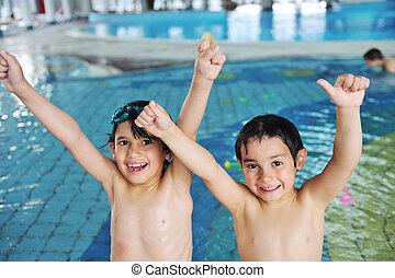 gosses, deux, piscine