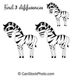 gosses, disposition, différences, jeu, zebra, trouver