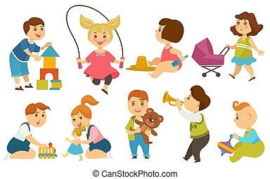 gosses, enfants, dessin animé, vecteur, jeux, cour de récréation, jouets, jouer