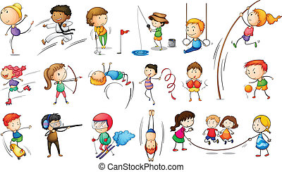 gosses, engageant, dans, différent, sports