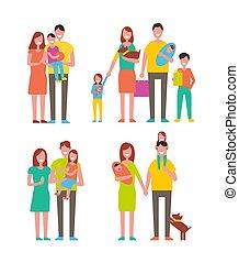 gosses, ensemble, famille, illustration, couples, vecteur