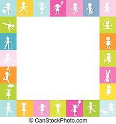 gosses, espace, playing., texte, cadre, gratuite, stylisé, silhouettes, enfants