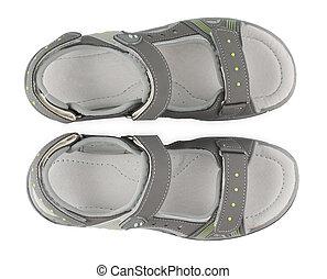 gosses, espadrilles, sommet, isolé, sandales, arrière-plan., shoe., blanc, sport, vue.