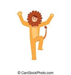 gosses, exécuter, anniversaire, lion, vecteur, illustration,...