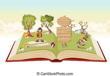 gosses, explorateur, équipement, livre, ouvert, dessin animé