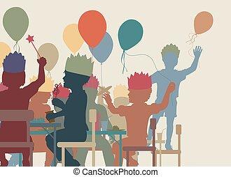 gosses, fête, illustration
