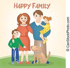 gosses, famille, -, chien, parents, heureux