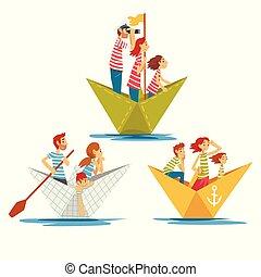gosses, famille, ensemble, illustration, papier, canotage, vecteur, parents, bateaux, rayé, rivière, t-shirts