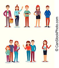 gosses, famille, gens, amis, illustration, vecteur, parents, stydents