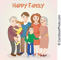 gosses, famille, grands-parents, -, parents, heureux