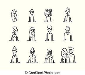 gosses, famille, icônes, gens, grandparents., avatars, parents, ligne