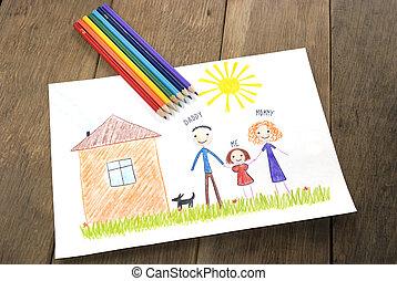gosses, famille, maison, leur, dessin, heureux