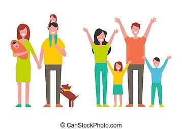gosses, famille, père, illustration, vecteur, mère