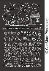 gosses, famille, soleil, chien, illustration, main, enfant, dessin, maison, heureux