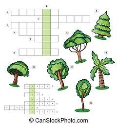 gosses, feuille, puzzle, -, arbres, mots croisés, activité