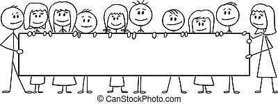 gosses, filles, horizontal, vide, dessin animé, illustration, signe, ou, enfants, groupe, tenue, vecteur, garçons, grand