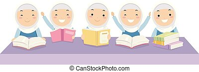 gosses, filles, stickman, illustration, livres, camarades classe