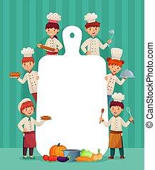 gosses, frame., restaurant, nourriture, menu, chefs, illustration, enfants, chef cuistot, découpage, vecteur, couper, cuisinier, planche, dessin animé
