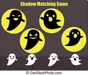 gosses, game., activité, halloween, assorti, thème, spooky, ombre, ghosts.
