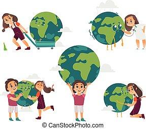 gosses, globe, tenue, la terre, jouer, étreindre