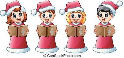 gosses, groupe, chants, déguisement, santa, chant, noël, rouges