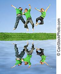 gosses, groupe, joie, célébrer, sauter, équipe, gagner, ou
