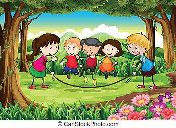 gosses, groupe, jouer, forêt
