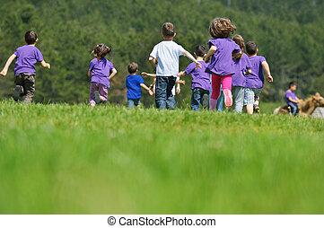 gosses, groupe, nature, amusez-vous, heureux