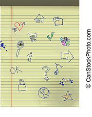 gosses, grunge, icônes, jaune, main, papier, légal, dessiné