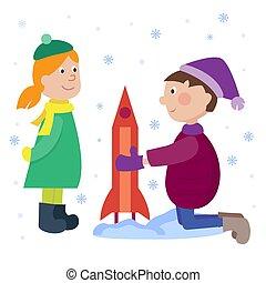 gosses, hiver, jouer, vecteur, jeux, fond, année, nouveau, dessin animé, vacances, noël, illustration.