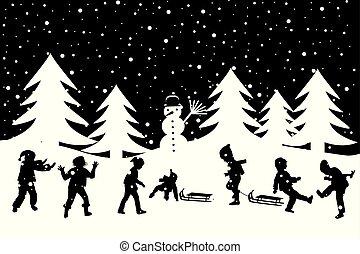gosses, hiver, neige, salutation, noir, blanc, jeu carte