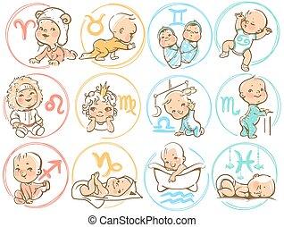 gosses, horoscope, sighns, zodiac., bébé, dessin animé