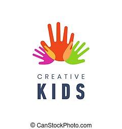gosses, illustration., coloré, créatif, vecteur, fond, ...